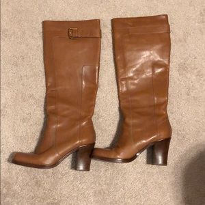 Tan leather riding boots
